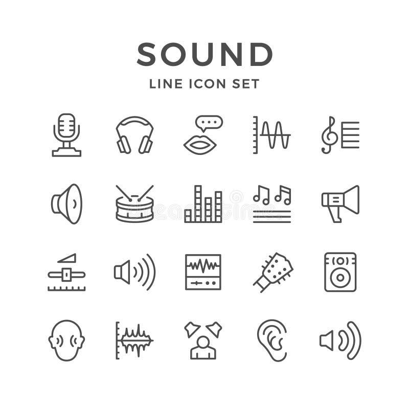 Stellen Sie Linie Ikonen des Tones ein vektor abbildung