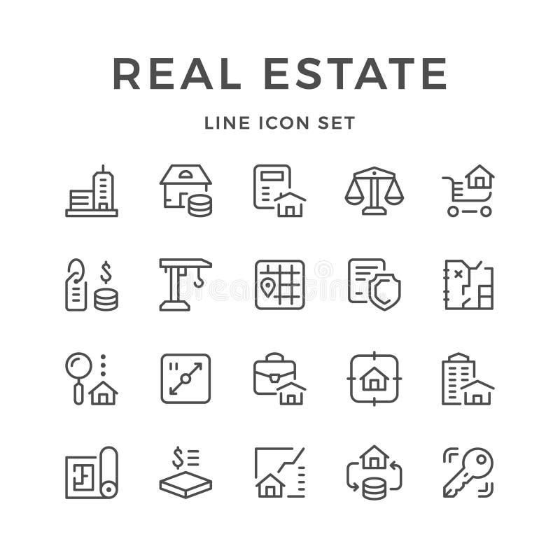 Stellen Sie Linie Ikonen von Immobilien ein lizenzfreie abbildung