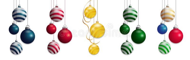 Stellen Sie lokalisierte Weihnachtsbälle ein Buntes Flitterelementdesign Vektor vektor abbildung
