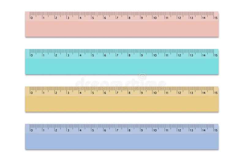 Stellen Sie Machthaber von Schulverschiedenen Farben 15 Zentimeter ein Vektorgestaltungselemente auf lokalisiertem weißem Hinterg lizenzfreie abbildung