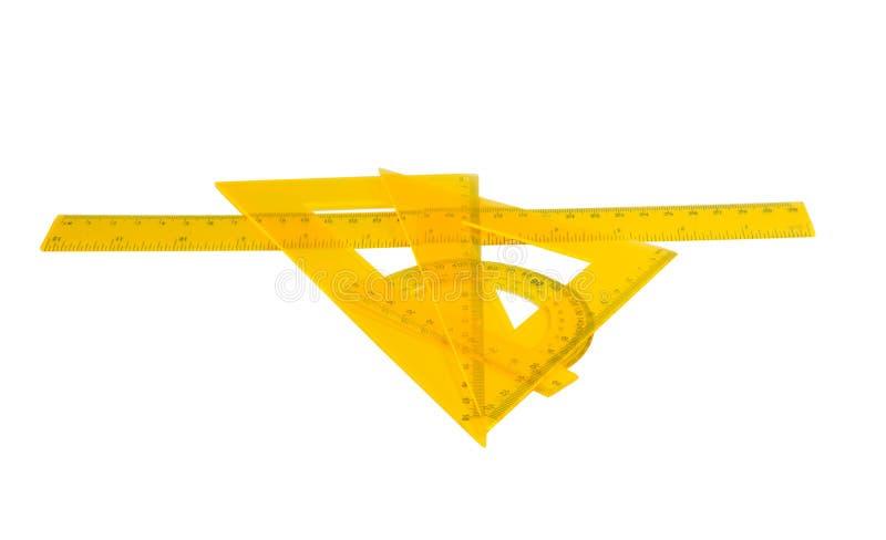 Stellen Sie Machthaber, Winkelmesser ein, das lokalisierte Dreieck stockbilder