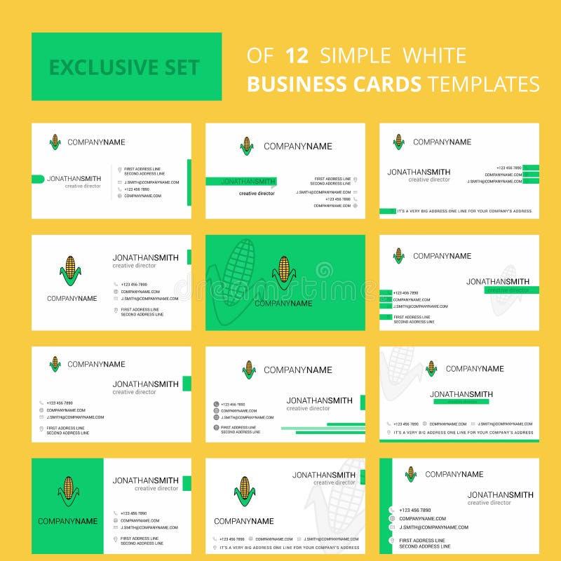 Stellen Sie Mais 12 von der kreativen Busienss-Karten-Schablone ein Editable kreatives Logo und Visitenkartehintergrund vektor abbildung