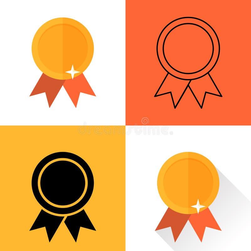 Stellen Sie Medaillen durchgeführt in der unterschiedlichen flachen Art ein Vektorillustration der hohen Qualität stock abbildung