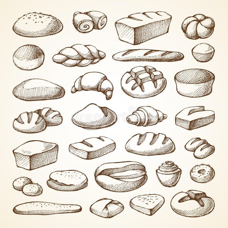 Stellen Sie mit Bäckereiprodukten ein lizenzfreie abbildung