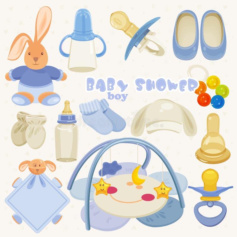 Stellen Sie mit bunten Babyeinzelteilen für Säuglingsjungen ein vektor abbildung