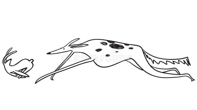 Stellen Sie mit der Jagd von Barzoihunden ein Laufen von Haustieren mit Kaninchen, Vogel, MO vektor abbildung