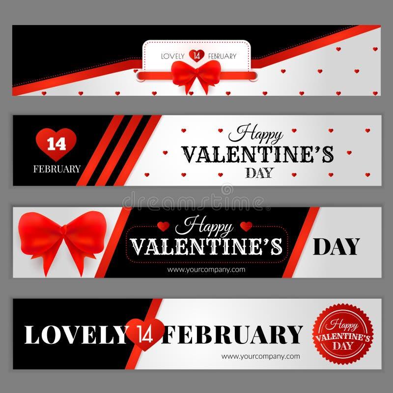 Stellen Sie mit Fahnen für Website ein Glücklicher Valentinstag vektor abbildung