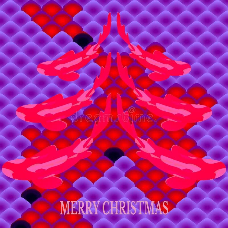 Stellen Sie mit Fischen, Karpfen koi in der Form des Weihnachtstannenbaums auf Hintergrund des nationalen orientalischen Musters, stock abbildung