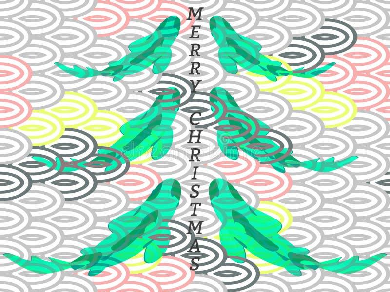 Stellen Sie mit Fischen, Karpfen koi in der Form des Weihnachtstannenbaums ein stock abbildung