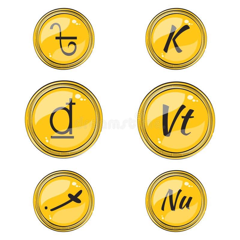 Stellen Sie mit flachen südasiatischen Währungszeichen ein stock abbildung