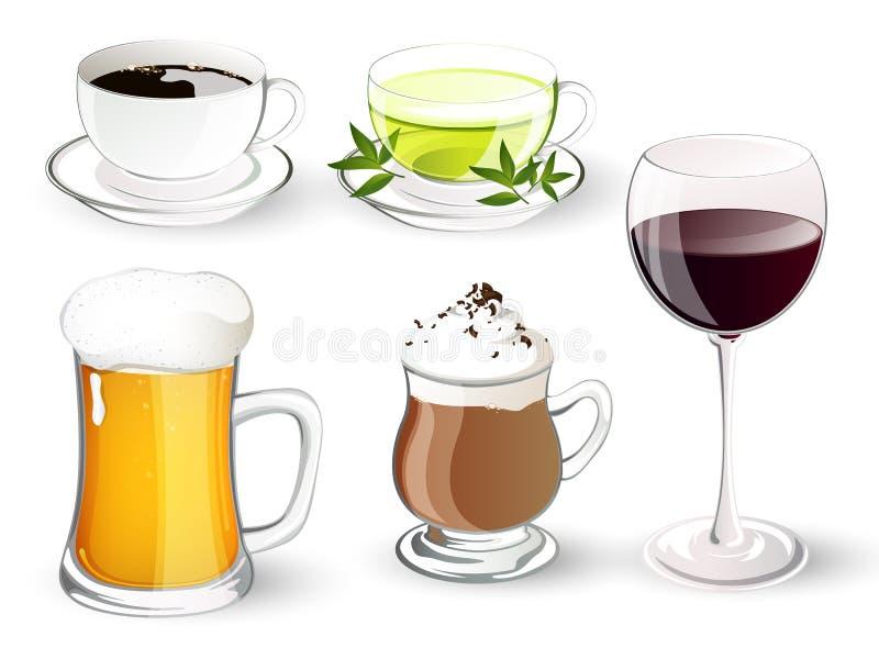 Stellen Sie mit Getränken ein vektor abbildung