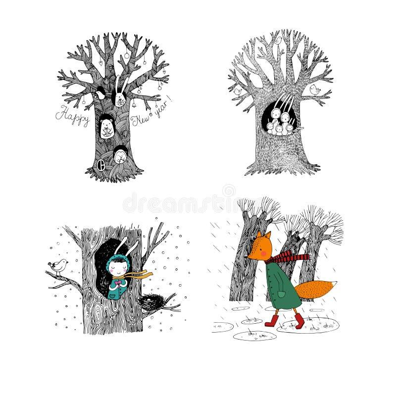 Stellen Sie mit magischen Bäumen ein Feenhafter Waldhandzeichnung lokalisierte Gegenstände auf weißem Hintergrund lizenzfreie abbildung
