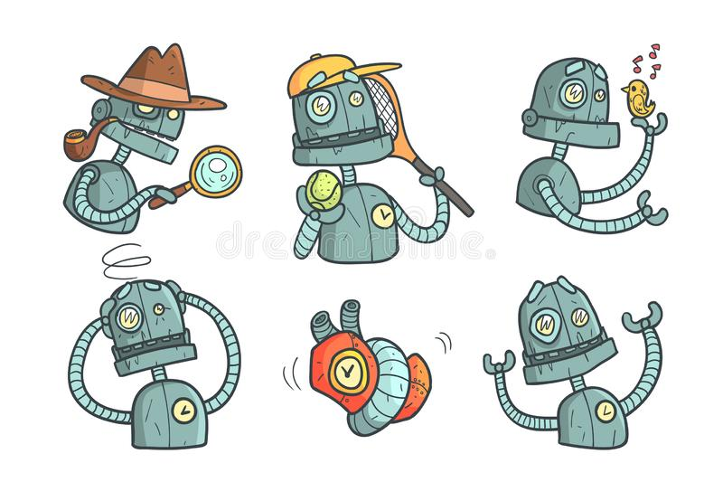 Stellen Sie mit Metallroboter mit verschiedenen Gef?hlen ein Karikatur mechanischer Android in der Entwurfsart mit bunter F?lle V vektor abbildung