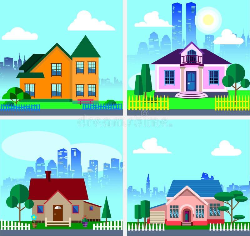 Stellen Sie mit modernen Privathäusern ein vektor abbildung