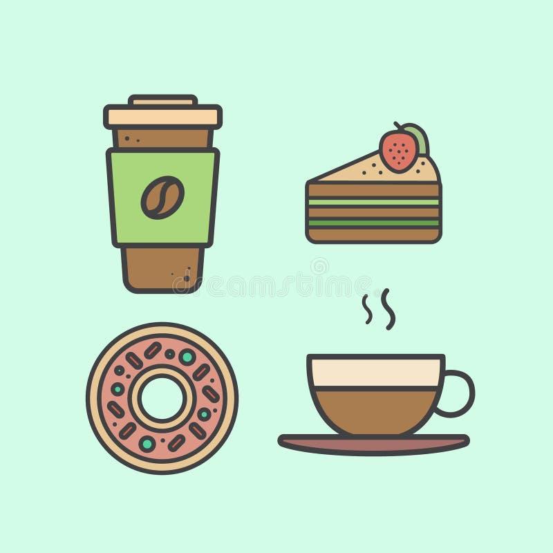 Stellen Sie mit Nachtischen und heiße Getränke einschließlich frischen Kaffee, heißer Tee, Kuchen mit Erdbeere und Donut ein vektor abbildung