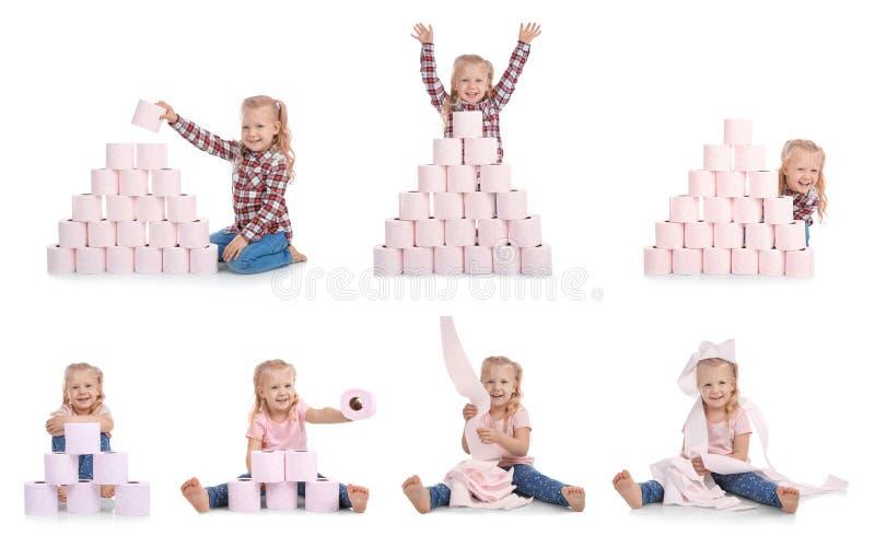 Stellen Sie mit nettem kleinem Mädchen und Toilettenpapier ein stockfoto