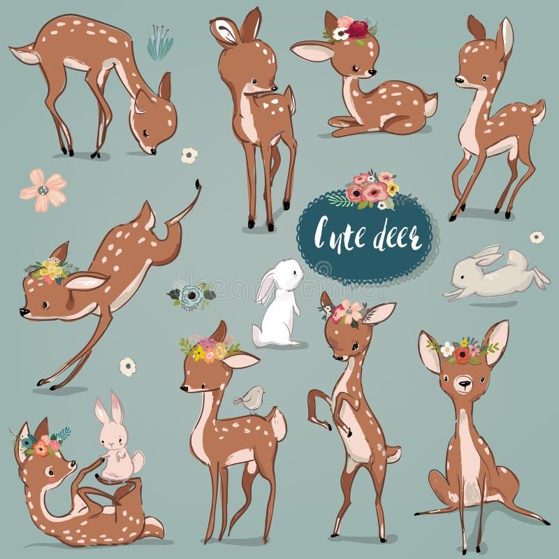 Stellen Sie mit netten Hasen und Rotwild ein lizenzfreie abbildung