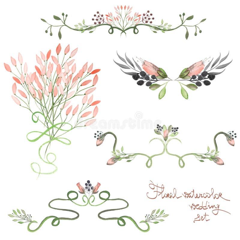 Stellen Sie mit Rahmengrenzen, dekorativen mit Blumenverzierungen mit Aquarellblumen, Blättern und Niederlassungen für die Heirat lizenzfreie abbildung