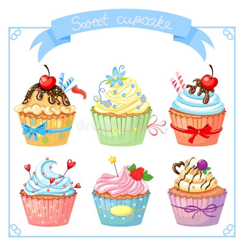 Stellen Sie mit süßem kleinem Kuchen ein stock abbildung