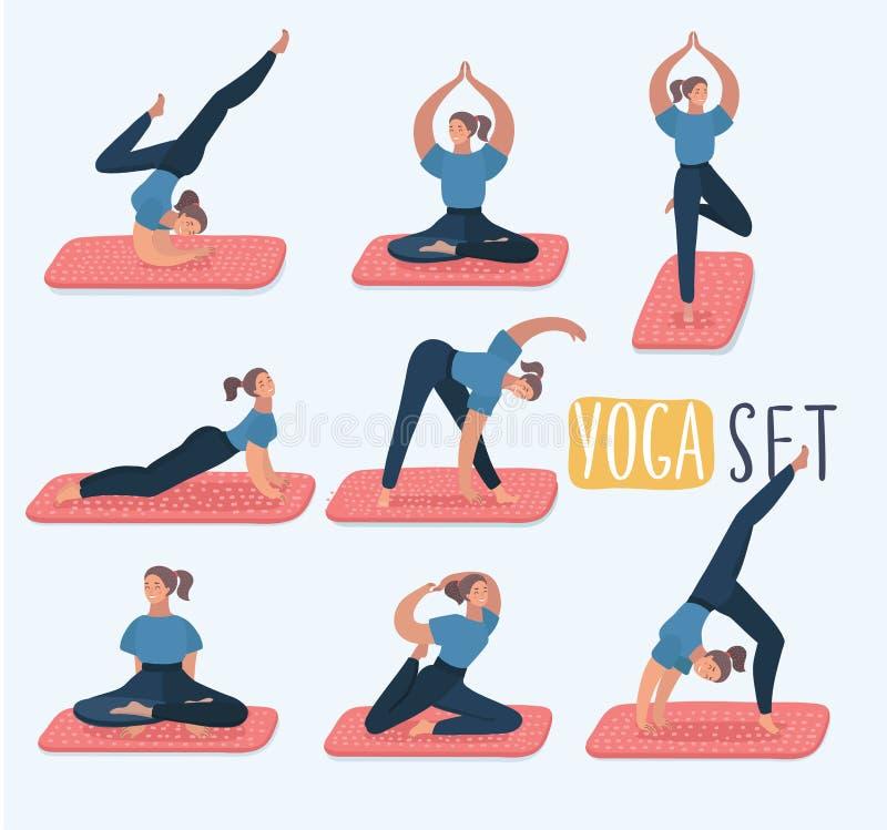 Stellen Sie mit Schönheit in den verschiedenen Haltungen von Yoga ein Vektorsatz der Yogaillustration Satz Yogahaltungen Gesundes lizenzfreie abbildung