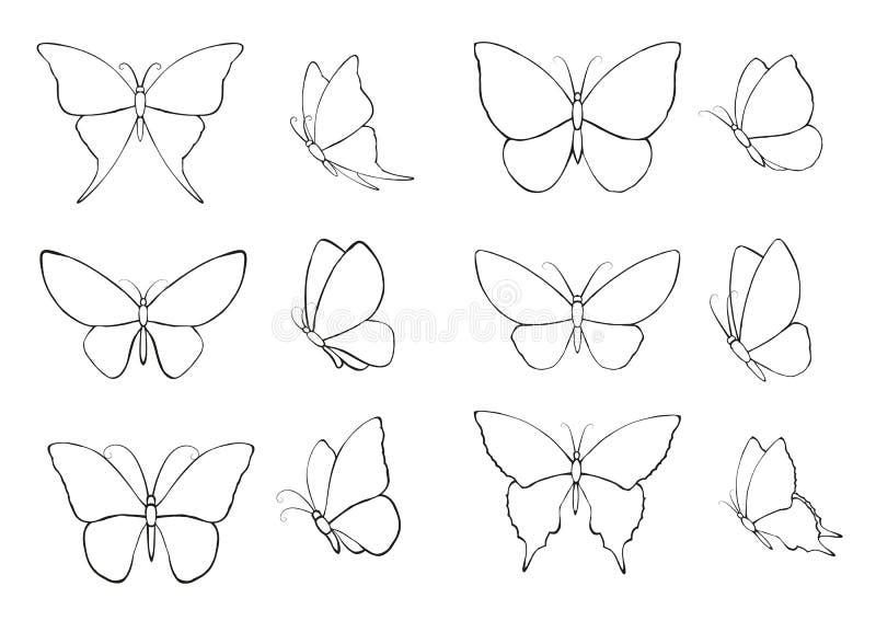 Stellen Sie mit Schattenbildern von Schmetterlingen ein lizenzfreie abbildung