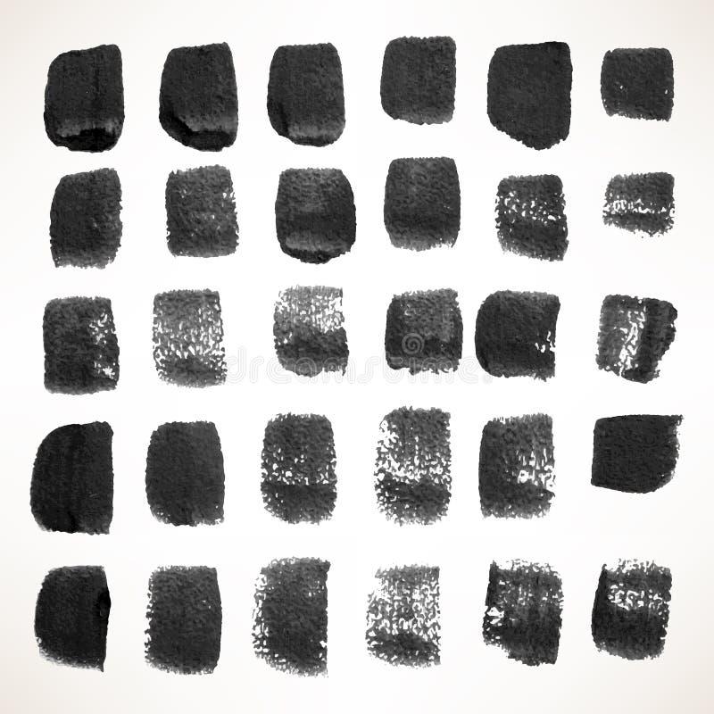 Stellen Sie mit schwarzen Aquarellbürstenanschlägen ein vektor abbildung