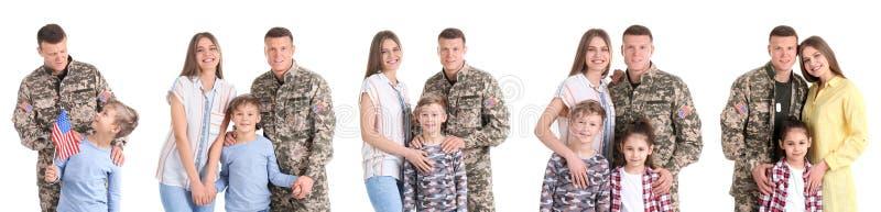 Stellen Sie mit Soldaten und seiner Familie auf weißem Hintergrund ein stockfotografie