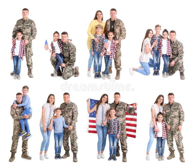 Stellen Sie mit Soldaten und seiner Familie auf weißem Hintergrund ein stockfoto