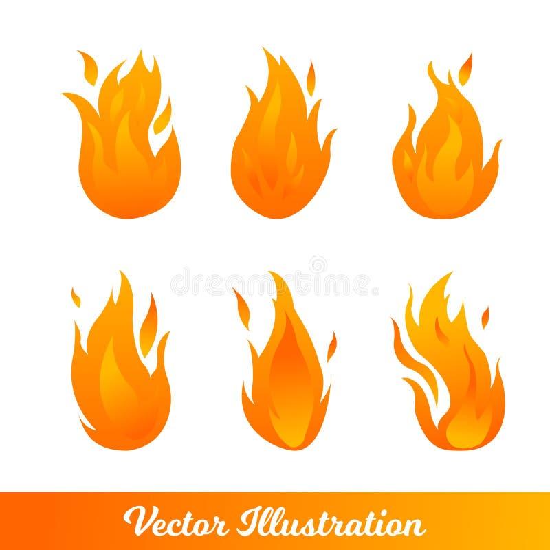 Stellen Sie mit verschiedenen Arten von Steigungsflammen ein vektor abbildung