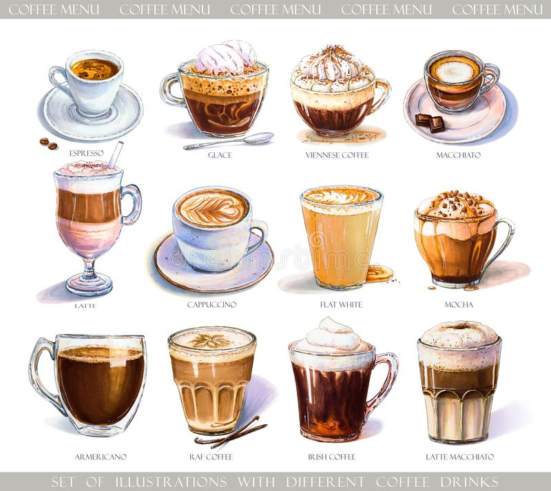 Stellen Sie mit verschiedenen Kaffeegetränken für Café- oder Cafémenü ein stock abbildung