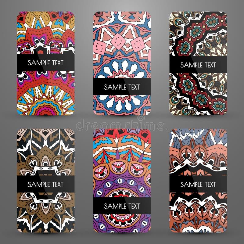 Stellen Sie mit Visitenkarten mit dekorativem Muster ein lizenzfreie abbildung