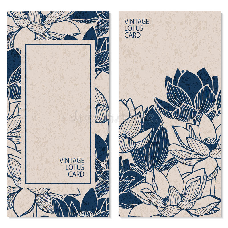 Stellen Sie mit zwei Vektorweinlesekarten mit Hand gezeichneten Lotosblumen und Platz für Text ein stock abbildung