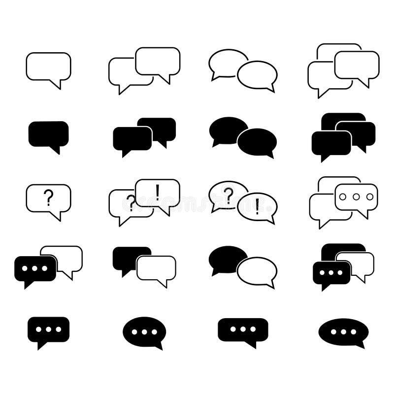 Stellen Sie Mitteilung sms Ikonen ein stock abbildung