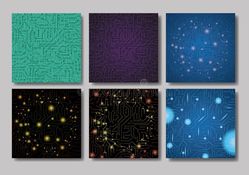 Stellen Sie Muster mit elektrischem Stromkreis ein vektor abbildung