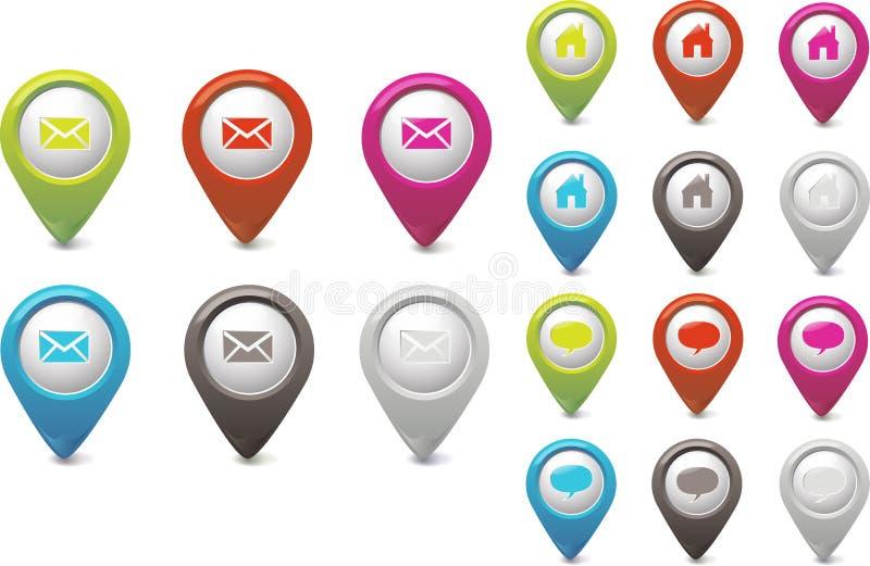 Stellen Sie Nadelanzeige-eMail-Schwätzchen und Haus ein vektor abbildung