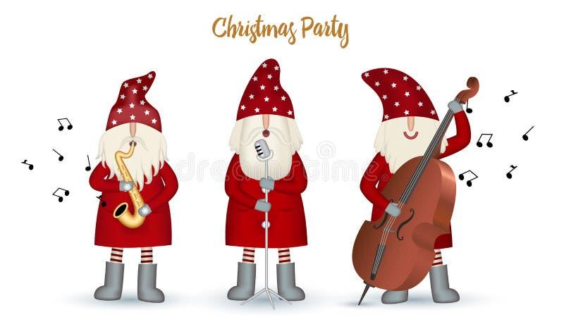 Stellen Sie nisse Musiker Santa Claus, Weihnachtsmotiv im roten Mantel ein stock abbildung