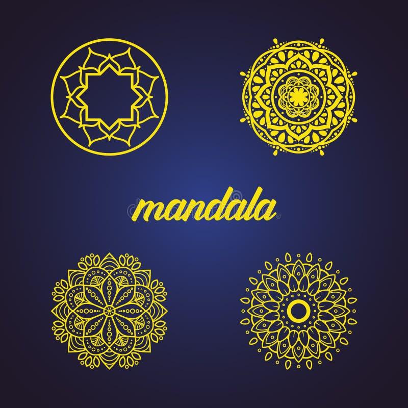 Stellen Sie oder Sammlung der islamischen Blumen-Mandala ein Dekorative Elemente der Weinlese Orientalisches Muster, Vektorillust stock abbildung