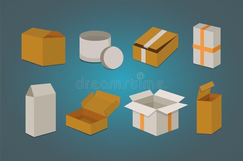 Stellen Sie offenen und geschlossenen Kartonkasten ein Lieferungsverpackungs-Vektorillustration vektor abbildung