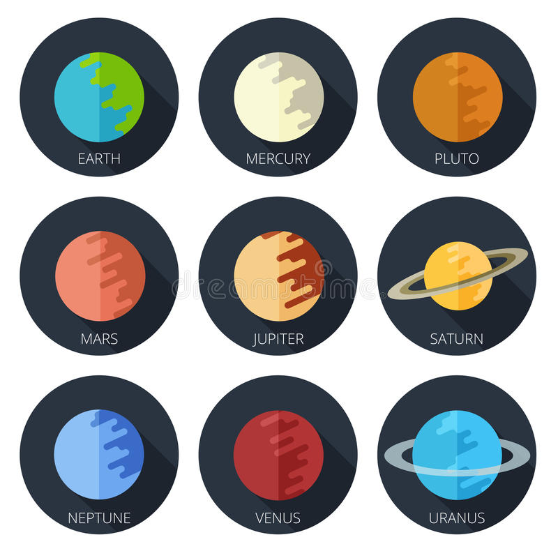 Stellen Sie Planetensonnensystem ein flache Ikone der Karikaturart vektor abbildung