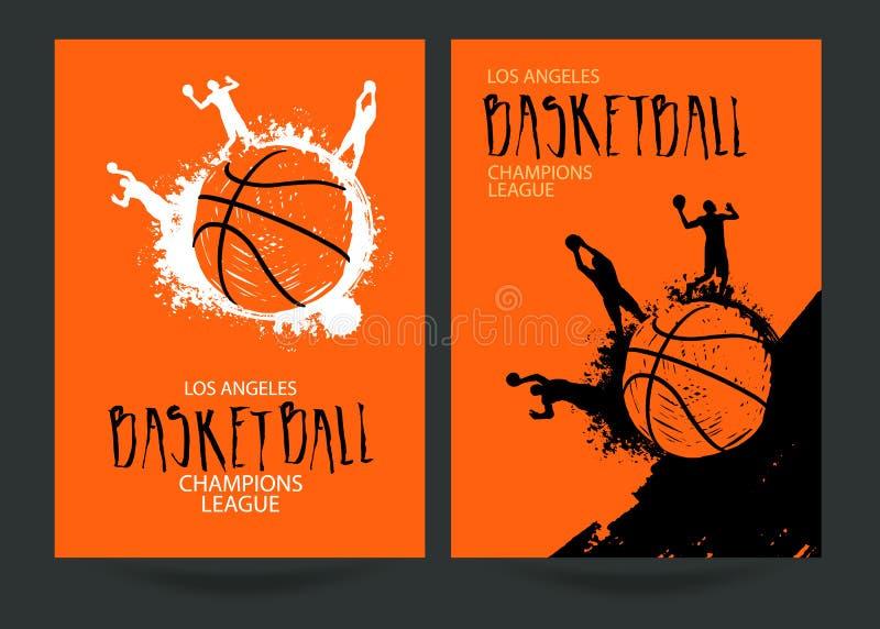 Stellen Sie Poster für Basketball ein vektor abbildung