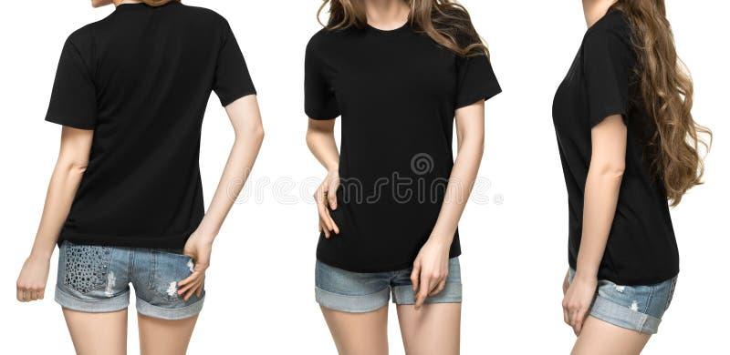 Stellen Sie Promohaltungsmädchen im leeren schwarzen T-Shirt Modelldesign für Druck und junge Frau der Konzeptschablone im lokali stockfotografie