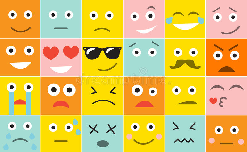 Stellen Sie Quadrat Emoticons mit verschiedenen Gefühlen, Vektorillustration ein lizenzfreie abbildung