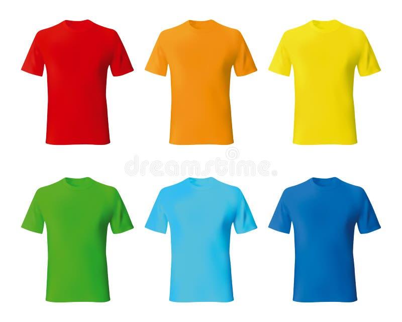 Stellen Sie realistisches Modell Farbmännlicher T-Shirt Schablone ein vektor abbildung