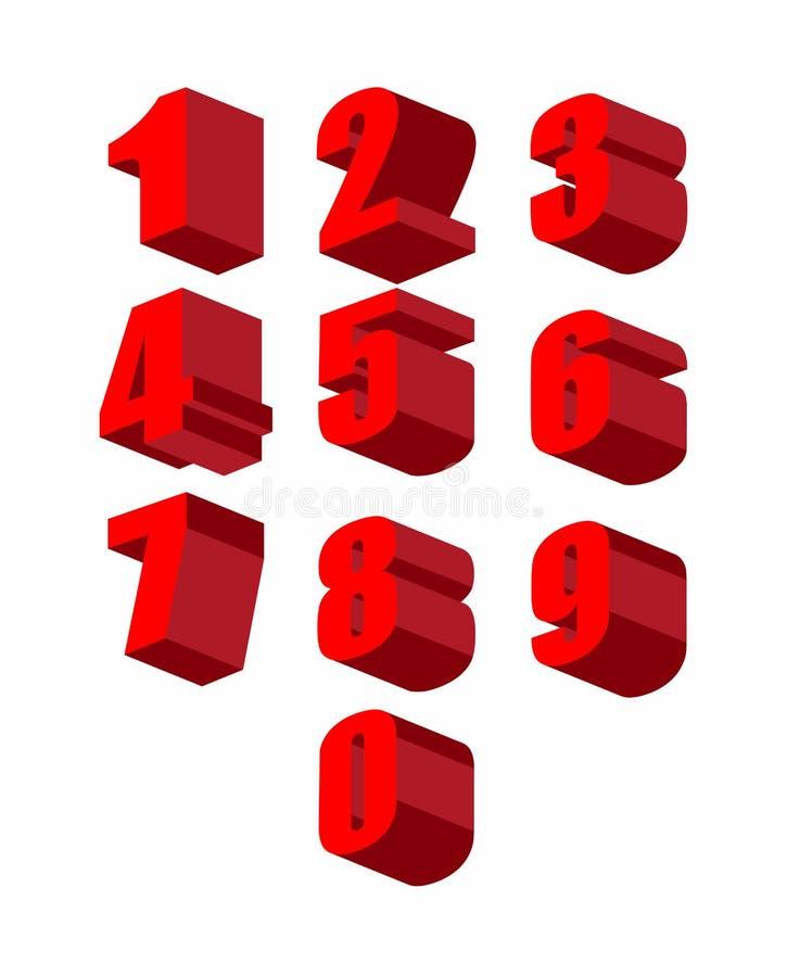 Stellen Sie rote Zahlen 3D eingestellt ein Null bis zehn Auch im corel abgehobenen Betrag vektor abbildung