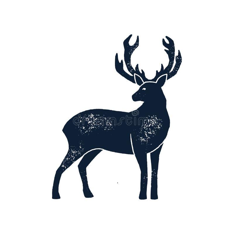 Stellen Sie Rotwild-Schattenbild-Schmutz des Handabgehobenen betrages ein Vektorillustration eines wilden Tierhirsches lokalisier lizenzfreie abbildung
