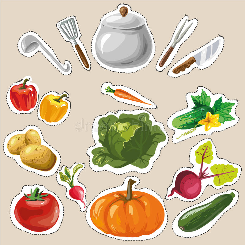Stellen Sie Sammlung mit Gemüseaufkleberflecken-Modeausweisen ein lizenzfreie abbildung