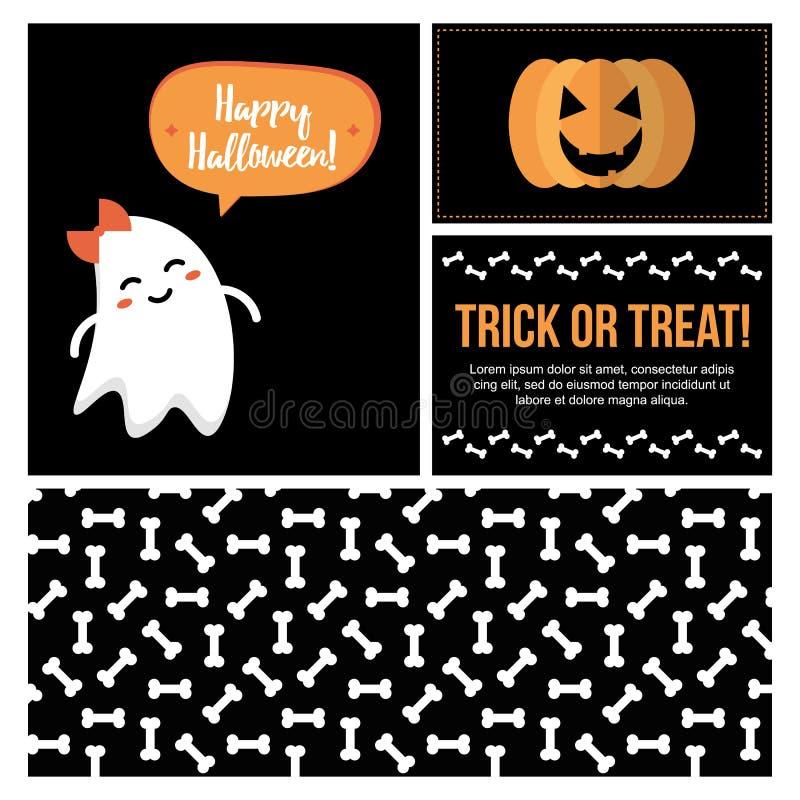Stellen Sie, Sammlung nette flache Designkarten Halloweens, Fahnen, Aufkleber, Aufkleber für Netz und Druck ein lizenzfreie abbildung