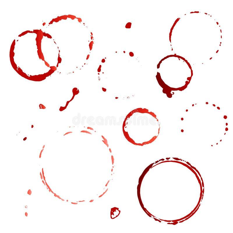 Stellen Sie, Sammlung Wein ein, oder Kaffee und Tee befleckt auf weißem Hintergrund alcohol Keine Steigungen stock abbildung