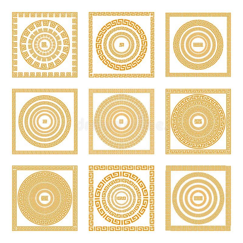 Stellen Sie Sammlungen der alten griechischen Verzierungen ein Orange im altem Stil Grenzen auf dem dunklen Hintergrund Ethnische stock abbildung