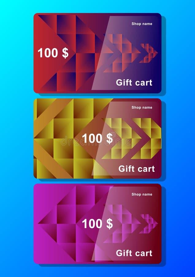 Stellen Sie Schablone der Geschenkkarte mit polygonalen abstrakten Elementen und Pfeilen ein lizenzfreie abbildung